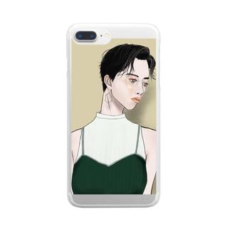 コンタクトよりメガネ派女子 Clear smartphone cases