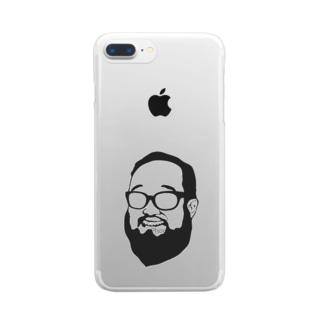 aubergのShacho logo black Clear smartphone cases