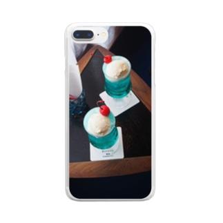 青いクリームソーダ Clear smartphone cases