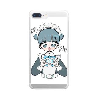 お団子青メイドちゃん Clear smartphone cases