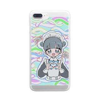 お団子青メイドちゃん(カラフル) Clear smartphone cases