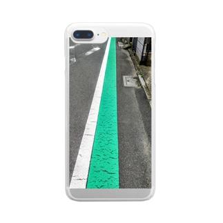 歩行者用グリーンベルト Clear smartphone cases