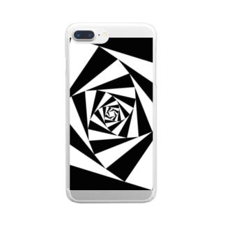 スパイラルかざぐるま(モノクロ) Clear smartphone cases