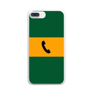 沿線電話(黒-電話マーク)  Clear smartphone cases