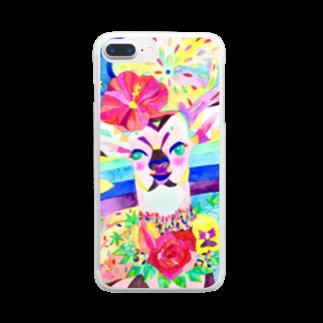 shu-shuの水彩イラスト シカ Clear smartphone cases