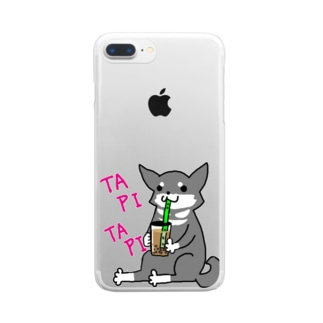 タピタピ柴さん(黒柴) Clear smartphone cases