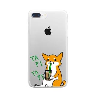 タピタピ柴さん(赤柴) Clear smartphone cases