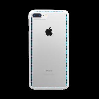 つちのこのチェックフレーム 青 Clear smartphone cases