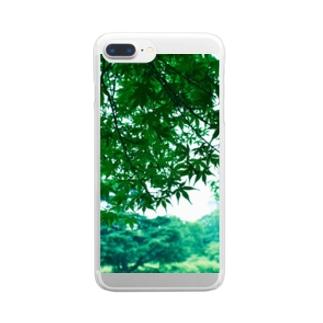 雨の緑に囲まれて Clear smartphone cases