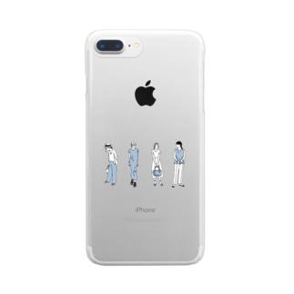 ゴンのファッションスナップ・ガール01ブルー Clear smartphone cases