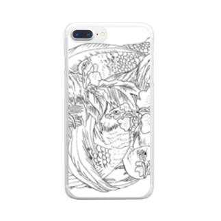 日本の美 葛飾北斎「群鶏」モノクロ版 Clear smartphone cases