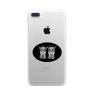 ふたりの子鬼(楕円) Clear smartphone cases