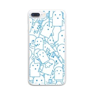 白いハニワ【うじゃうじゃ(青)】 Clear smartphone cases