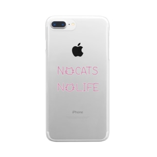 NO CATS NO LIFE(PINK) Clear smartphone cases