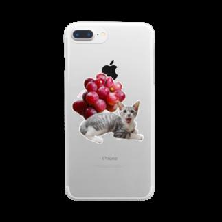 保護猫カフェ「駒猫」さん家のNo.3 ぶどうくん♪ Clear smartphone cases