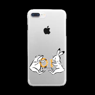 しきいろの鳥獣戯画(ポップ) Clear smartphone cases