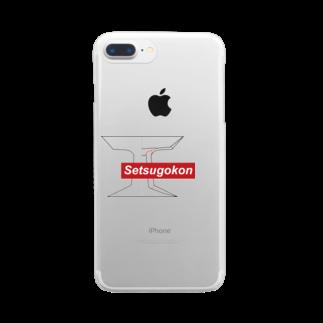 まばたきが浅いの接合痕デザイン Clear smartphone cases