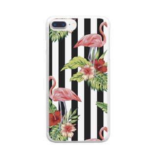 Fukuko55のフラミンゴ(ストライプ) Clear smartphone cases