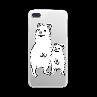 kojiの笑うクオッカワラビーの親子 Clear smartphone cases