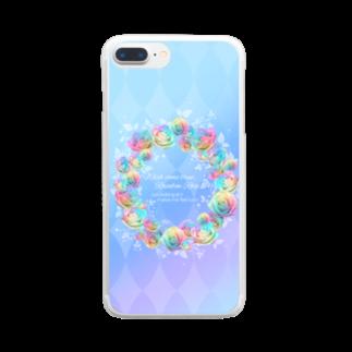 黒い天使の幸運のレインボーローズ Clear smartphone cases