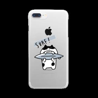 mashibuchiのねこサーフィンかじり Clear smartphone cases