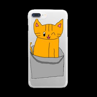 ねこまちランドのバケツねこ Clear smartphone cases
