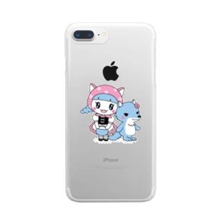水玉ネコ耳ずきんちゃんとおおかみちゃん Clear smartphone cases
