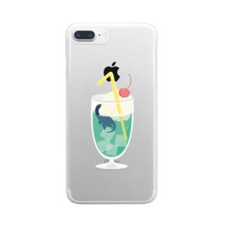 クリームソーダザウルス Clear smartphone cases