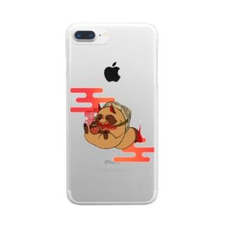 霞タヌキさん Clear smartphone cases