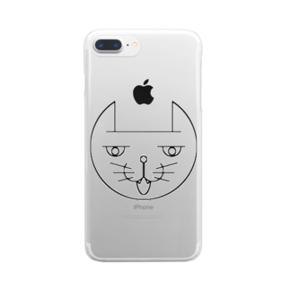 ヒロさんのグッズのネコだお(口開け) Clear smartphone cases