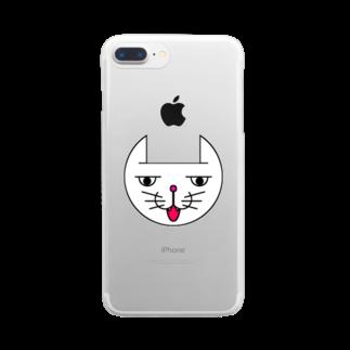 ヒロさんのグッズのネコだお(口開け)(カラー) Clear smartphone cases