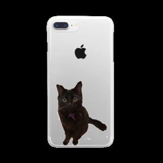 ねこまちランドのおすわりレオン2 Clear smartphone cases