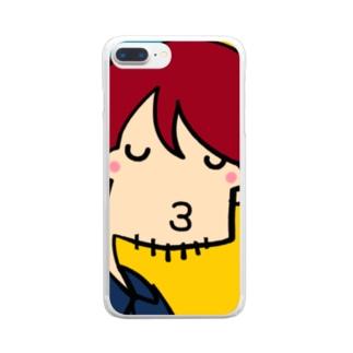 夜22時のドラマにありがちなキス顔 Clear smartphone cases