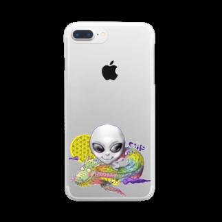 都市伝説屋cilF✴︎シルフの宇宙人×虹龍 Clear smartphone cases