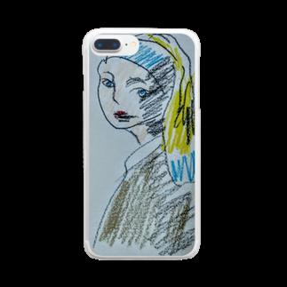 ✈オノウエ コウキの青いターバンの女? Clear smartphone cases