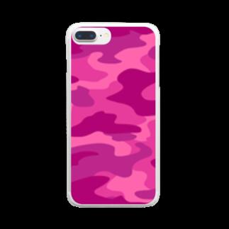 みや猫の迷彩柄(ピンク) Clear smartphone cases