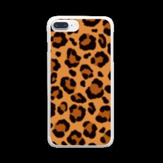 みや猫のヒョウ柄(ブラウン) Clear smartphone cases