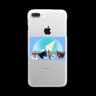 保護猫カフェ「駒猫」さん家のNo.7 フルーツ4兄弟♪ Clear smartphone cases