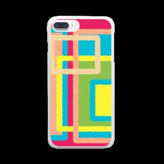 ぽすぽすのしかくしかくしかくまど Clear smartphone cases