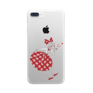レトロガール Clear smartphone cases