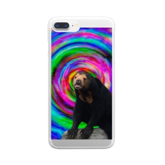 サイケデリックな世界に迷い込んだマレーグマ Clear smartphone cases