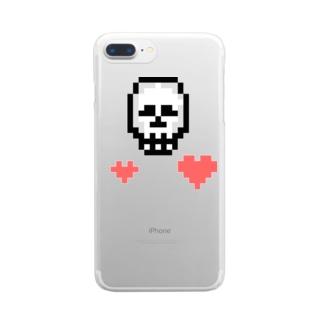【ドットマニア】 ドット絵 ドクロ ハート Clear smartphone cases