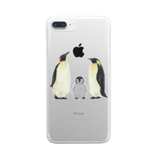 コウテイペンギン家族 Clear smartphone cases