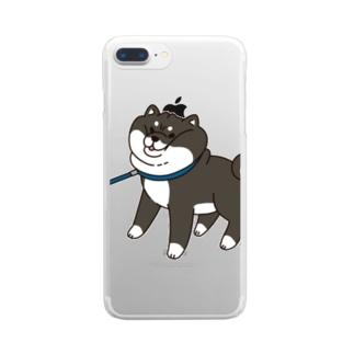 散歩から帰りたくない黒柴 Clear smartphone cases