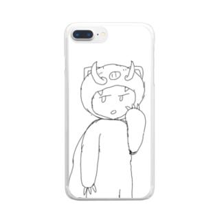 よころんver.猪 Clear smartphone cases