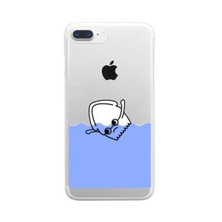 イカにしては独特な泳ぎをするイカくん Clear smartphone cases