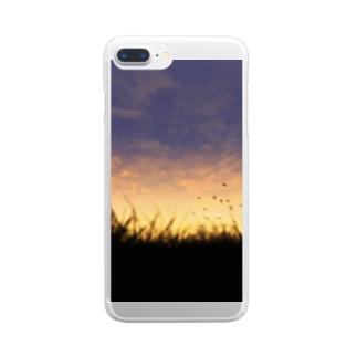 夕暮れの空 Clear smartphone cases