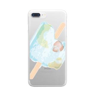 アイス フルーツ 夏 Clear smartphone cases