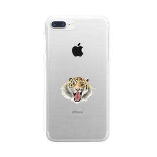 おこタイガー Clear smartphone cases