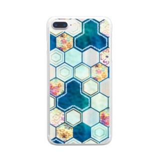 和柄の大理石 シリーズ Clear smartphone cases